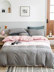 cheap -Monochrome double four-piece sanding cotton quilt cover bed linen single double