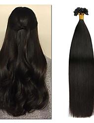 cheap -Fusion / U Tip Human Hair Extensions Straight Human Hair Brazilian Hair 50 pcs Easy to Carry Women Women's Natural Black #1B