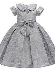 cheap -Princess / Ball Gown Knee Length Wedding / Party Flower Girl Dresses - Satin Short Sleeve Jewel Neck with Bow(s) / Beading