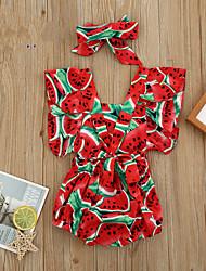 cheap -Baby Girls' Basic Print Short Sleeves Romper Red