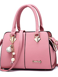 cheap -Women's Bags PU Leather Satchel Top Handle Bag Zipper Chain Solid Color Leather Bags Daily Black Red Blushing Pink Green