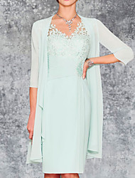 cheap -Two Piece Sheath / Column Mother of the Bride Dress Elegant V Neck Knee Length Chiffon 3/4 Length Sleeve with Embroidery 2021