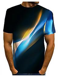 cheap -Men's 3D Graphic T-shirt Basic Daily Round Neck Dark Yellow / White / Black / Purple / Yellow / Blushing Pink / Orange / Champagne / Short Sleeve