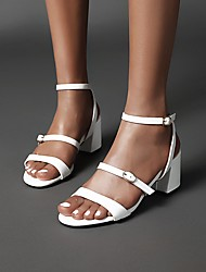 cheap -Women's Sandals 2020 Summer Block Heel Open Toe Preppy Minimalism Daily Buckle Solid Colored PU Almond / White / Black