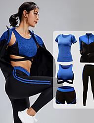 cheap -Women's 5pcs Tracksuit Yoga Suit Winter Zipper Wirefree Fashion Purple Blue Gray Yoga Fitness Running High Waist Shorts Sports Bra Jacket Long Sleeve Sport Activewear Tummy Control Butt Lift Quick