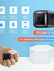 cheap -ESCAM G16 HD 1080P 2.8mm Lens Mini WIFI/APP Mode Connection Battery 6PCS IR LEDs Night Vision Motion Detection Battery Built-in Microphone Camera With Audio Support 64GB TF Card