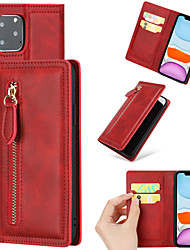 cheap -Case For Apple Wallet / Shockproof Full Body Cases / Bumper Solid Colored PU Leather