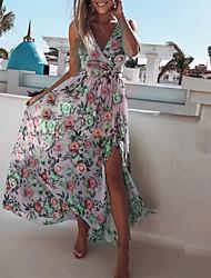 cheap -Women's Chiffon Dress Maxi long Dress - Sleeveless Floral Summer Sexy 2020 Yellow Blushing Pink Light Green S M L XL