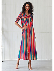 cheap -Women's Sheath Dress Midi Dress - Half Sleeve Solid Color Print Summer Casual Elegant Vacation Going out 2020 Red XS S M L XL