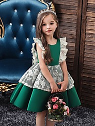 cheap -Princess / Ball Gown Knee Length Wedding / Party Flower Girl Dresses - Satin / Tulle Cap Sleeve Jewel Neck with Bow(s) / Color Block