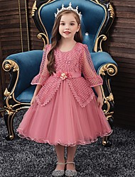 cheap -Princess / Ball Gown Knee Length Wedding / Party Flower Girl Dresses - Tulle Long Sleeve Jewel Neck with Sash / Ribbon / Bow(s) / Beading