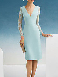 cheap -Sheath / Column Mother of the Bride Dress Elegant V Neck Knee Length Satin Long Sleeve with Embroidery 2020 / Illusion Sleeve