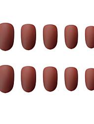 cheap -24pcs Creative False Nails Round dark matte fake nail piece wear nail enhancement paste finished nail piece