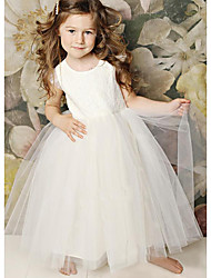 cheap -A-Line Floor Length Wedding / Party Flower Girl Dresses - Lace / Satin / Tulle Sleeveless Jewel Neck with Solid