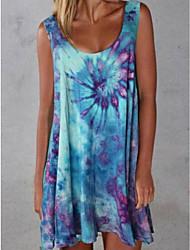 cheap -Women's Strap Dress Short Mini Dress Sleeveless Print Summer Casual Sexy 2021 Blue Purple Red Yellow Green S M L XL XXL 3XL 4XL 5XL