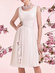 cheap -A-Line Mother of the Bride Dress Elegant Jewel Neck Knee Length Chiffon Sleeveless with Sash / Ribbon Pleats 2020