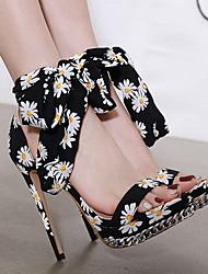 cheap -Women's Heels / Sandals Summer Stiletto Heel Peep Toe Daily Canvas Black