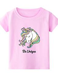 billiga -Barn Småbarn Flickor Kineseri Geometrisk Tryck Kortärmad T-shirt Vit