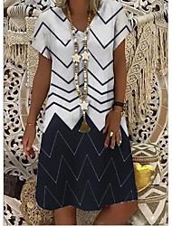 cheap -Women's Shift Dress Knee Length Dress - Short Sleeves Stripes Print Summer V Neck Casual Vacation 2020 White Blue S M L XL XXL XXXL