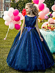 cheap -Princess / Ball Gown Floor Length Wedding / Party Flower Girl Dresses - Tulle Sleeveless Jewel Neck with Pleats