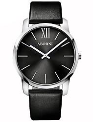 cheap -Men's Sport Watch Quartz Minimalist Water Resistant / Waterproof Analog Black Black / White / Stainless Steel / Genuine Leather / Genuine Leather