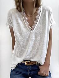 halpa -Naisten Yhtenäinen T-paita V kaula-aukko Päivittäin Kesä Valkoinen S M L XL 2XL