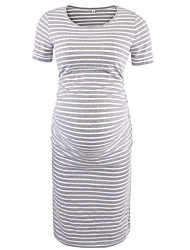 cheap -Women's T Shirt Dress Knee Length Dress - Short Sleeves Striped Summer Casual 2020 Black Blushing Pink Light gray Gray S M L XL