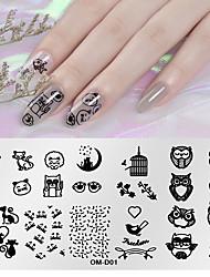 tanie -1 szt. Narzędzie do stemplowania paznokci szablon stemplowania płytki z serii zwierząt do recyklingu zdobienia paznokci manicure pedicure azjatycki codziennie