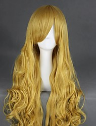cheap -Cosplay Costume Wig Cosplay Wig Watatsuki No Toyohime TouHou Project Curly Cosplay Halloween Asymmetrical With Bangs Wig Blonde Long Blonde Synthetic Hair 35 inch Women's Anime Cosplay Best Quality