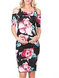 cheap -Women's Sheath Dress Knee Length Dress - Short Sleeves Floral Summer Sexy 2020 Black Red Rainbow S M L XL