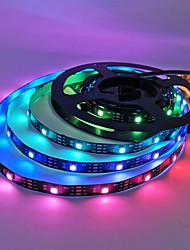 cheap -LED Strip Lights Marquee 300 LEDs 150 LEDs 5M Light Strip 5050 SMD Black PCB for Christmas New Year Gift with Remote Control DC 12V Adapter (Optional) Home Bedroom Decoration