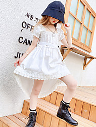 cheap -Kids Girls' Cute White Solid Colored Ruched Lace up Short Sleeve Asymmetrical Dress White