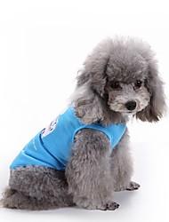 cheap -Cat Dog Shirt / T-Shirt Dog Clothes White Blue Costume Terylene Heart Stars XS S M L