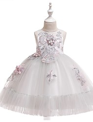 cheap -Princess / Ball Gown Knee Length Wedding / Party Flower Girl Dresses - Tulle Sleeveless Jewel Neck with Bow(s) / Beading / Appliques