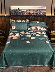 cheap -Summer Mat - 3-Piece Set / 1 Bed Sheet and 2 Pillowcases / Ultra Silky Soft Polyester / Modern Floral Printed / Dark Green
