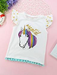 Недорогие -малыш Девочки Активный Классический Unicorn С принтом Без рукавов Футболка Белый