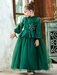 cheap -Princess / Ball Gown Ankle Length Wedding / Party Flower Girl Dresses - Lace / Tulle Long Sleeve High Neck with Pleats / Beading