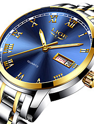 cheap -LIGE Men's Steel Band Watches Analog Quartz Roman Numeral Casual Chronograph Day Date