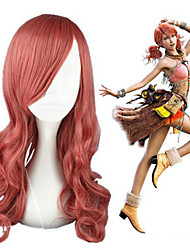 cheap -Cosplay Wig Oerba Dia Vanille Final Fantasy Curly Cosplay Asymmetrical Wig Medium Length Pink Synthetic Hair 26 inch Women's Anime Cosplay Lovely Pink