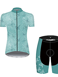 cheap -21Grams Women's Short Sleeve Cycling Jersey with Shorts Nylon Polyester Green Butterfly Leaf Bike Clothing Suit Breathable 3D Pad Quick Dry Ultraviolet Resistant Reflective Strips Sports Butterfly