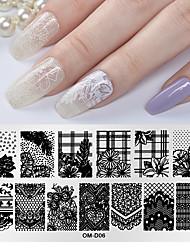 tanie -1 szt. Szablon matrycowy z serii kwiatowej do recyklingu zdobienia paznokci manicure pedicure artystyczny codziennie
