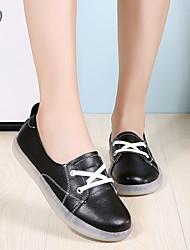 cheap -Women's Flats Summer / Fall Flat Heel Round Toe Classic Casual Sweet Daily Home PU Walking Shoes White / Black / Pink