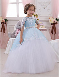cheap -A-Line Floor Length Wedding / Party Flower Girl Dresses - Lace / Tulle Short Sleeve Jewel Neck with Appliques
