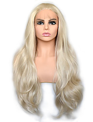 cheap -Light Golden Blonde Natural Wave Synthetic Lace Front Wig Heat Resistant Fiber Daily Wearing For Women