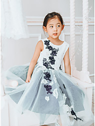 cheap -Ball Gown Tea Length Wedding / Birthday / Pageant Flower Girl Dresses - Lace / Tulle Sleeveless Jewel Neck with Pearls / Appliques