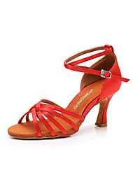 cheap -Women's Latin Shoes Silk Buckle Heel Slim High Heel Dance Shoes Black / Purple / Light Red