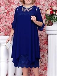 cheap -Women's Chiffon Dress Midi Dress - Half Sleeve Solid Color Summer Chinoiserie 2020 Blue Light Blue L XL XXL XXXL XXXXL XXXXXL