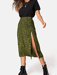 cheap -Women's Leopard Bodycon Skirts Solid Colored Blue Purple Army Green