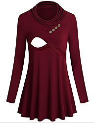 cheap -Women's Blouse Maternity Solid Colored Tops Round Neck Daily Fall Black Red S M L XL 2XL / Long