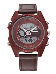 levne -Pánské Sportovní hodinky japonština Digitální Kůže Černá / Červená / Hnědá Hodinky na běžné nošení Cool Velký ciferník Analogové Módní Cool - Černá Rubínově červená Hnědá